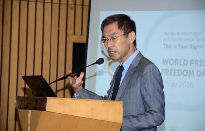 Shigeru Aoyagi, Director and UNESCO Representative for Bhutan, Maldives, India and Sri Lanka delivers the welcome address