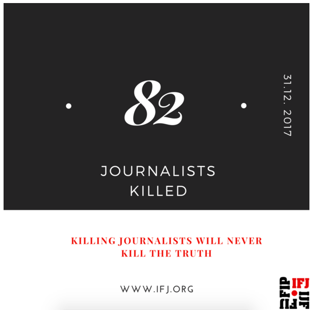 Time to end impunity: IFJ urges drastic change in media safety after 82 journalists killed in 2017
